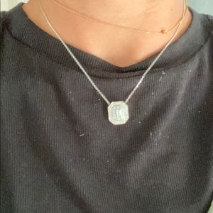 Jewelry - Diamond necklace with emerald center stone